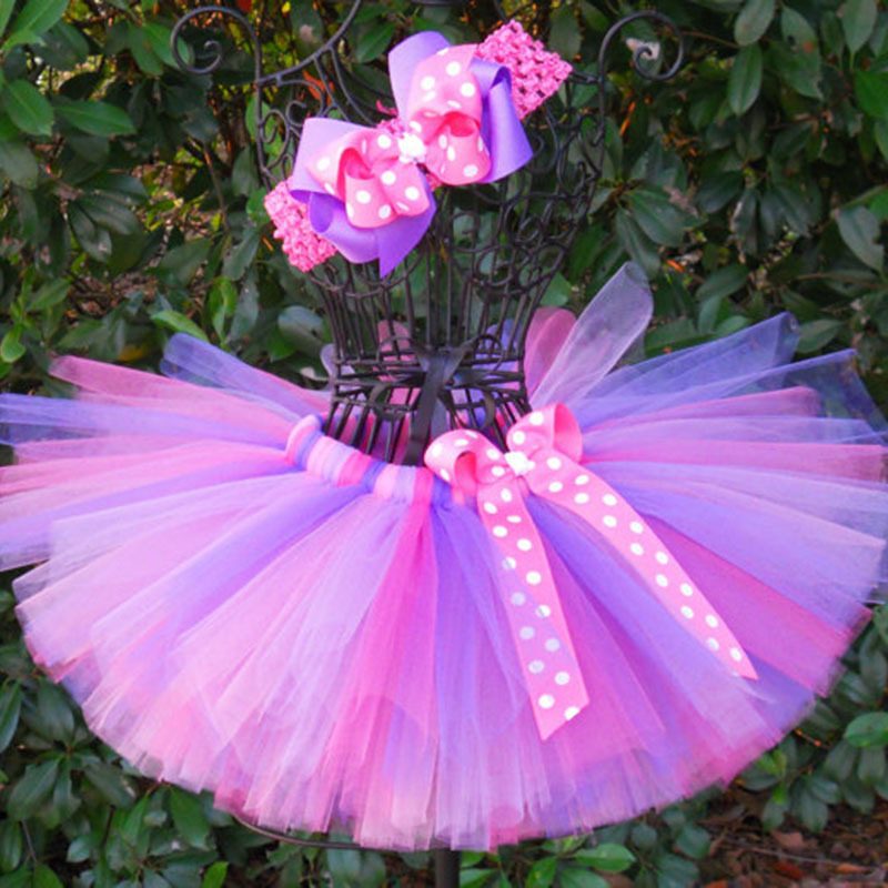 Colorful Girls Tutu Skjørt Spedbarn 100% Håndlaget Fluffy Ballet Tutus Pettiskirt med prikker Ribbon Bow og Headband Kids Cloth