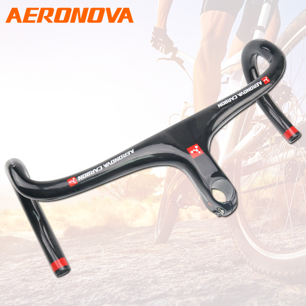 Spor ve Eğlence'ten Bisiklet Gidonu'de Yol bisikleti gidon AERONOVA bisiklet gidon 28.6mm karbon yol bisiklet gidon kök ile entegre 400/420/440mm title=
