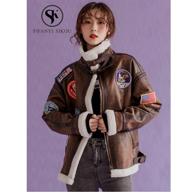 Winter Women Lambswool Coat Suede Leather jacket Fashion Badge Embroidery Motorcycle jackets Womens Basic Coat Warm