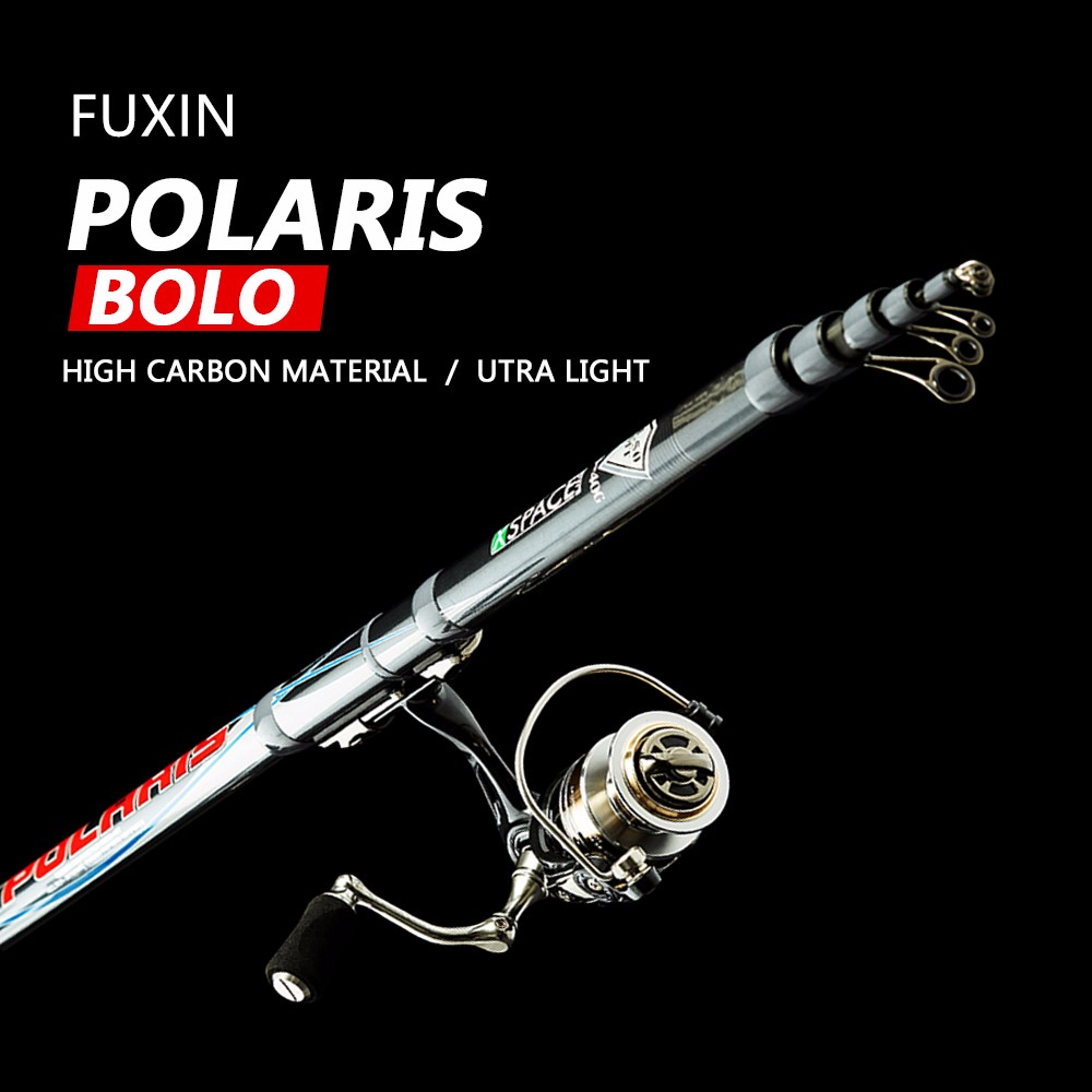 FUXIN 99% Carbon Fiber Telescopic Spinning Fishing Rod 3.8-6m 90cm Short Sea Rods travel Lightweight port black Fishing bolo rod
