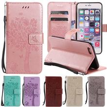 For Coque iPhone 6 Case Leather Wallet + Silicone Cover iPhone 6 Phone Case Cover Cat Tree Flip Case For iPhone 6 6s Plus Case cheap XiaoMing XiaoFeng Wallet Magnetic Phone Case With Card Pocket Kickstand Dirt-resistant Anti-knock Apple iPhones iPhone 6 Plus