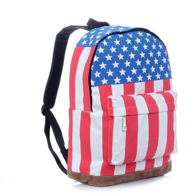 Ulrica 2017 New Arrival Creative Design UK USA Flag Union Jack Style Backpack Shoulder School Bag BackPack Canvas bag ladies