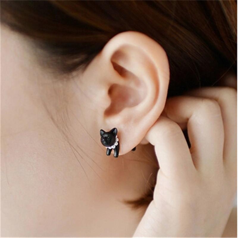 Cat Pearl Stud Earrings