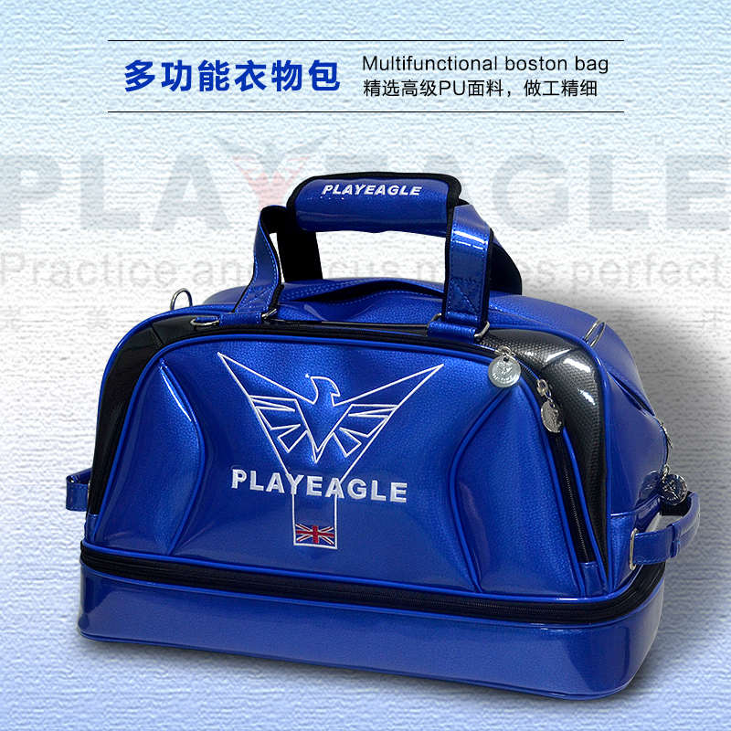 New  PLAYEAGLE Waterpoof PU Leather Golf Boston Bag Golf Clothing Bag Large Capacity Travel Bag with Shoes Pocket OEM Logo 2017 large capacity waterproof nylon golf boston bag travel clothing bag with separate golf shoes bag embroidery logo