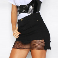 TAUPIN AM Lace Patchwork Denim Skirts High Waist Casual Women Jeans Skirt Sexy Button White Black