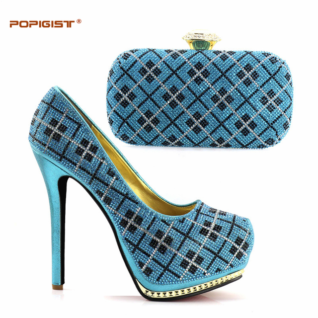 Women High Heel Pumps Crystal Sky Blue Color 2018 Evening Shoes Clutch Set Matching Shoes And Bag Italy For Party 14.5cm Pumps