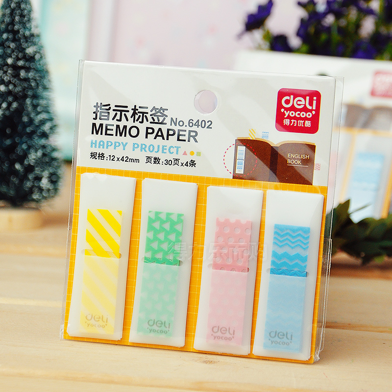 Deli Paper Cute Kawaii Bookmark Memo Tabs Stick Marker Sticky Notes Index Tabs Post It Book Office Supplies Accessories ohm 0603 f 1