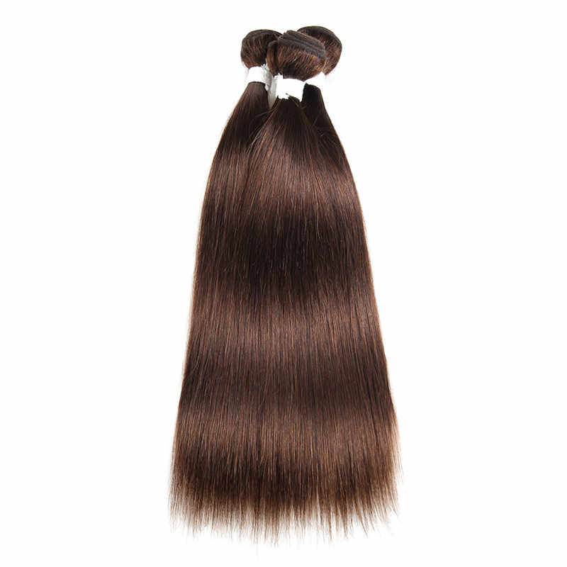 Addbeauty #4 אור בינוני חום צבע חבילות ישר ברזילאי אדם רמי שיער מראש בצבע Weave הארכת אינץ כפול ערב