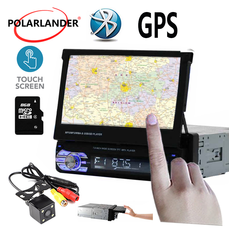 Autoradio MP5 MP4 lecteur GPS Bluetooth stéréo FM USB TF AUX 1 DIN 7 pouces autoradio lecteur cassette miroir lien