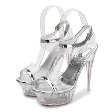 Hot Wedding Women Sandals Clear Tenacity PVC High Heel 14CM Transparent Platform Sandals Ladies Open Toe Shoes Silver MS-B0033 14cm high heel sandals female platform open toe cool boots wedges