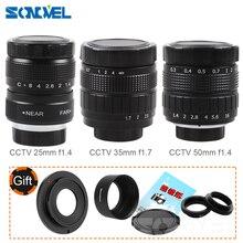 ฝูเจี้ยน35มิลลิเมตรF1.7กล้องวงจรปิดเลนส์ภาพยนตร์+ 25มิลลิเมตรf1.4ทีวีเลนส์+ 50มิลลิเมตรf1.4ทีวีเลนส์สำหรับSONY nex EเมาA6500 A6300 A6100 NEXชุดกล้อง