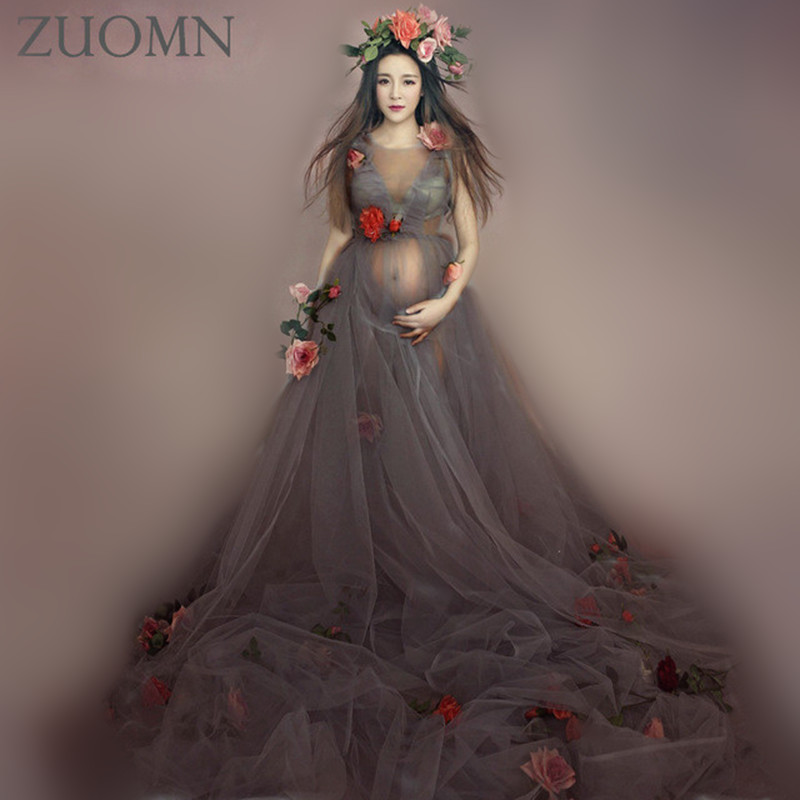 Aternity Photography Dress Gauzedress Studio Maternity Photography Props Pregnant Women Fancy Dresses Photo Shoot YL406