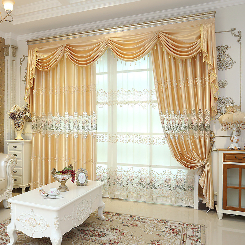 Schon Modern Style Yellow Bestickt Höhlte Seide Nachahmung Fenster Vorhang Sheer  Für Wohnzimmer Schlafzimmer 1 Stücke Preis