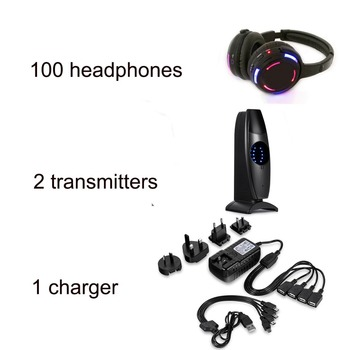 Silent Disco Headphones -100pcs LED Rechargeable RF Wireless Headphones with 2 transmitters