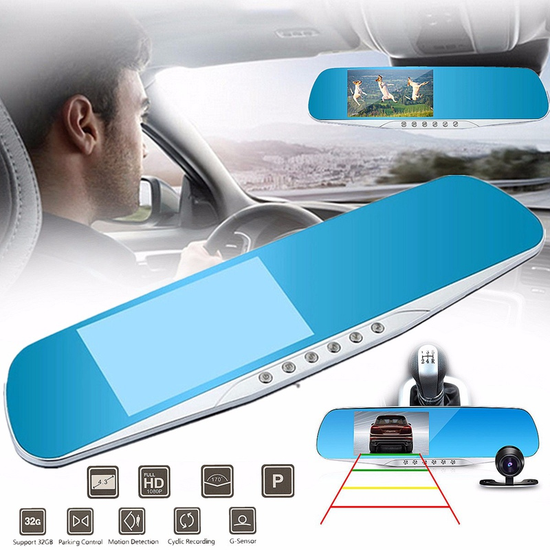 1080P HD 140 Degree F8C 4 3 Inch Parking Rear View Rearview Mirror TFT Dual Lens