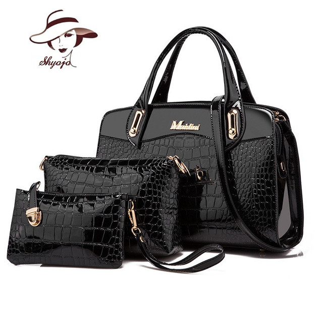 e92ab053336c Luxury Patent Leather Handbag Day Clutches Wallets 2017 Women Crocodile PU  Leathe Shoulder Bag Ladies Designer