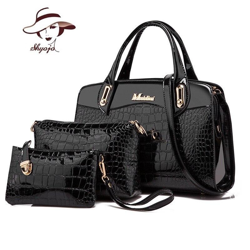 Luxury Patent Leather Handbag+Day clutches+Wallets 2017 women crocodile PU leathe shoulder bag ladies designer fashion style bag patent leather handbag shoulder bag for women