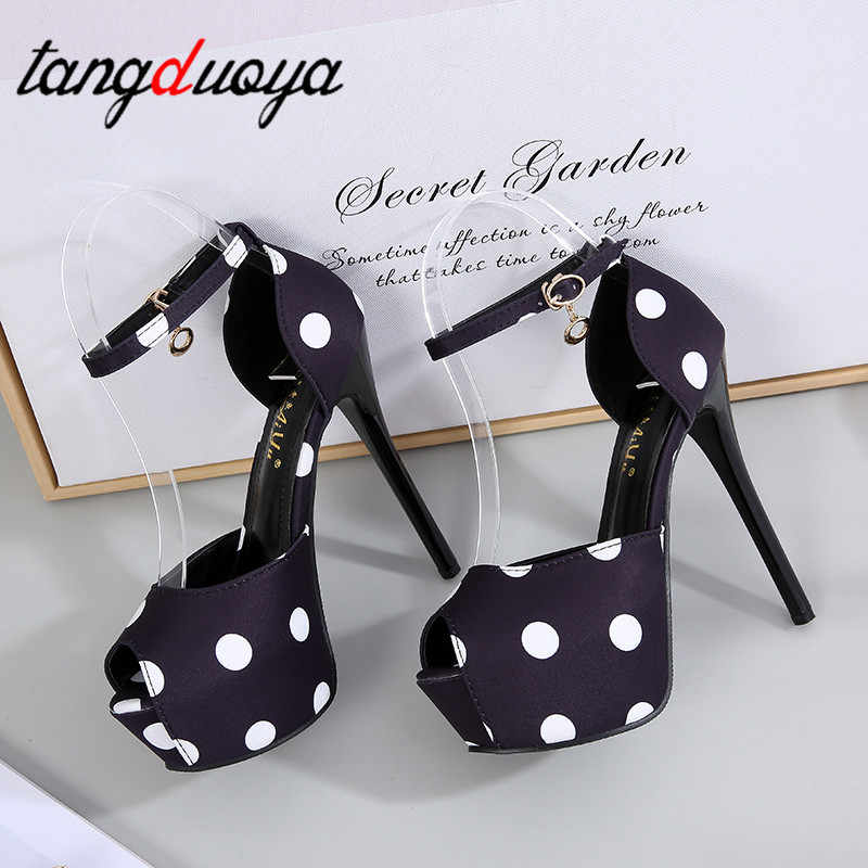 Plateforme talons sexy talons hauts chaussures femme escarpins noir blanc femmes sandales chaussures de fête femme chaussures de mariage Sapato feminino