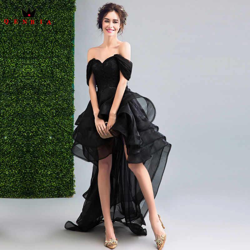QUEEN BRIDAL Evening Dresses High Low Cap Sleeve Black Short Prom Women  Party Dress Evening Gown e2adf17b32e0