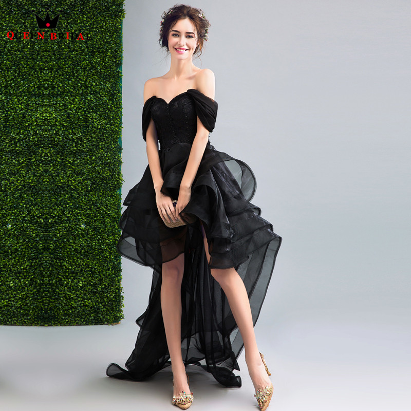 QUEEN BRIDAL   Evening     Dresses   High Low Cap Sleeve Black Short Prom Women Party   Dress     Evening   Gown 2018 Vestido De Festa JW27