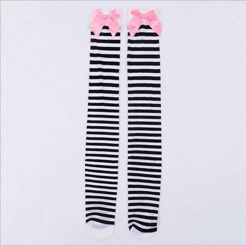 a64dc640850 ... Hot Sale New Sexy Women Girl Striped Cotton Thigh High Stocking Over  The Knee Socks Fashion ...