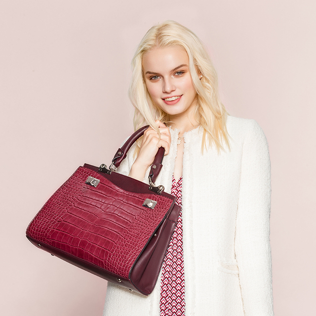 AMELIE GALANTI Women Leather Handbag Luxury Lady Bag Designer Special Fabric PU Female Fashion Casual Totes Hard Alligator Bag Top-Handle Bags