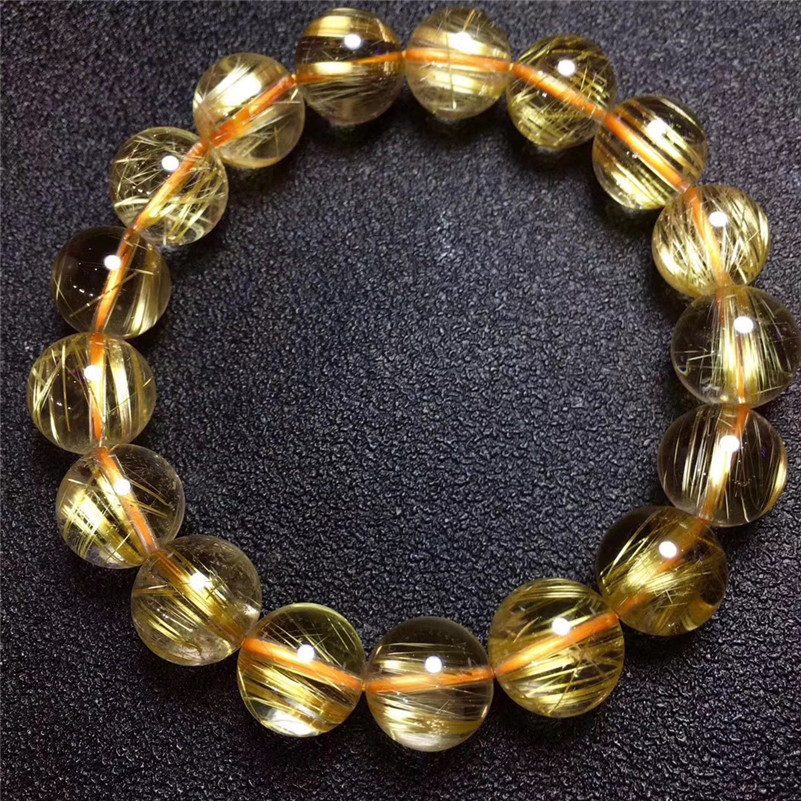 12.5mm Natural Brazil Gold Rutilated Titanium Quartz Bracelet Woman Man Lucky Wealthy Clear Round Beads Crystal Charms Jewelry12.5mm Natural Brazil Gold Rutilated Titanium Quartz Bracelet Woman Man Lucky Wealthy Clear Round Beads Crystal Charms Jewelry