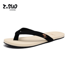 Z.Suo Brand New Fashion Men Beach Sandals Black Gray Comfortable Soft Men's Flats Sandals Slippers Blue Flip Flops Shoes ZS1801