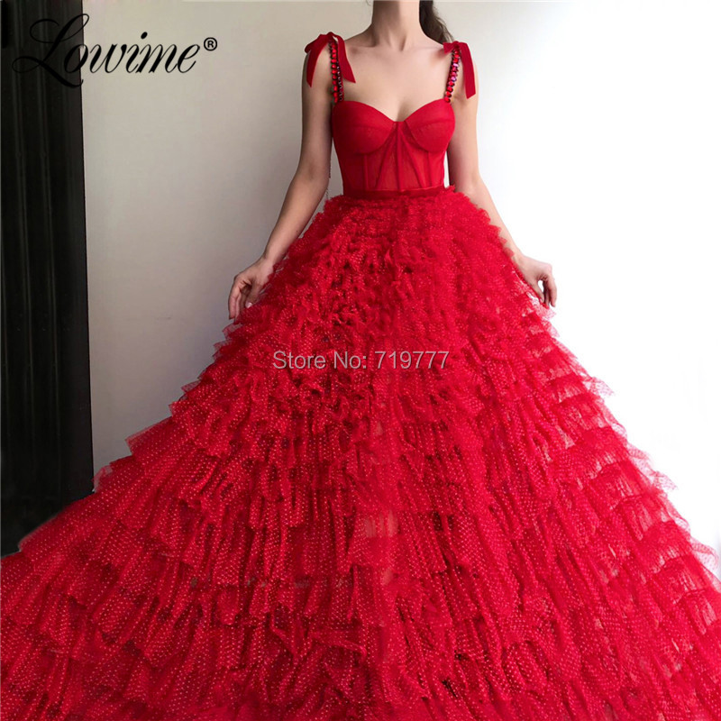 Amazing Tulle Tiered Red   Prom     Dresses   Long A Line Arabic Evening Gowns 2019 Crystals Beaded Wedding Party   Dress   Robe De Soiree