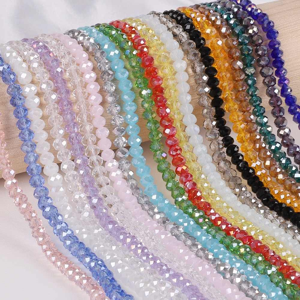 Pick Size 2 3 4 6 8mm Czech Loose Rondelle Crystal Beads For Jewelry Making Diy Needlework AB Color Spacer Faceted Glass Beads