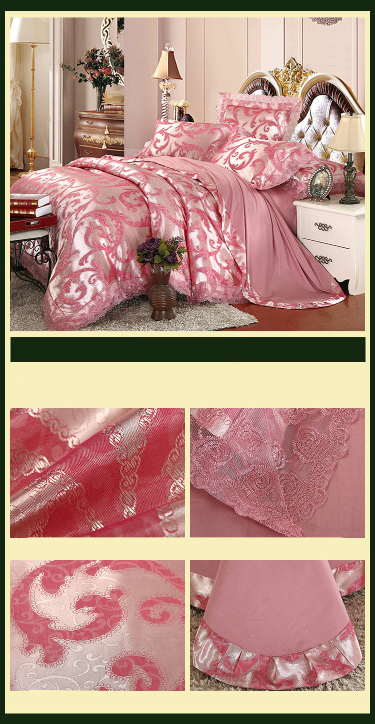 New Luxury Embroidery Tinsel Satin Silk Jacquard Bedding Set, Queen, King Size, 4pcs/6pcs 28