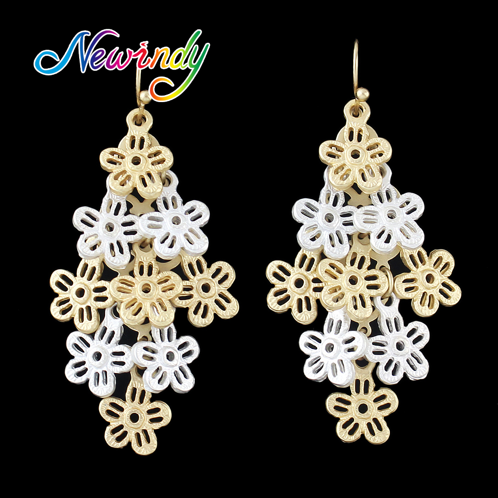 Newindy Costume Jewelry Hollow Out Goldcolor Silver Color Flower Dangle  Hanging Earrings For Women