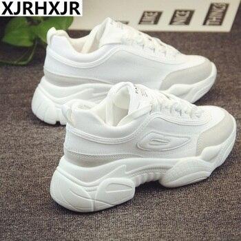 27dedbfa Nuevo 2019 primavera moda mujer zapatos casuales zapatos de plataforma de  cuero de gamuza mujeres zapatillas de deporte señoras blanco zapatillas  chussure ...