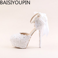 White Lace Flowers Women High Heels Shoes Round Head 4cm Paltform Bridal Shoes Diamond Wedding Shoes Bow Ties Two-Pieces Pumps