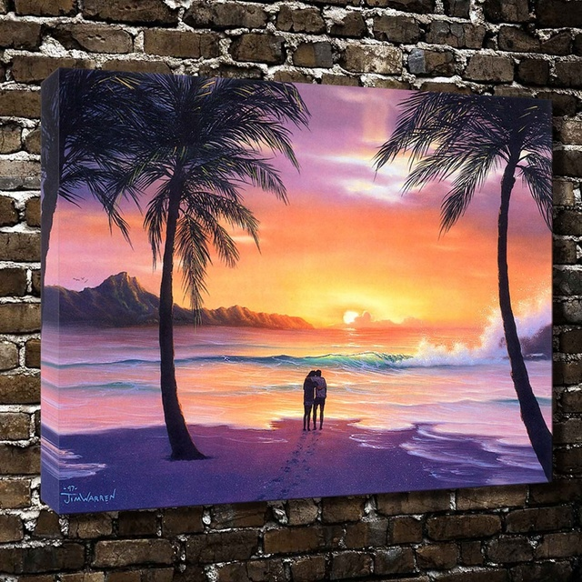 A1141Jim Warren Couples Watch Sea Sunset Scenery.HD Canvas Print Home  Decoration Living Room Bedroom