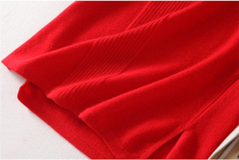 Женское трикотажное платье свитер высшего качества из 100% кашемира в стиле cheongsams, с длинными рукавами, бежевый, красный, серый, 3 однотонных ц... - 5