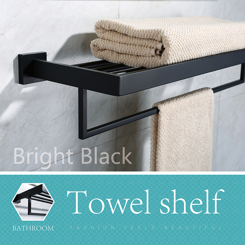 LOY Bath Towel Rack with Towel Bar SUS 304 Stainless Steel Bathroom Storage Organizer Shelf RUSTPROOF Wall Mount Brushed Finish leyden high quality wall mount 304 stainless steel orb chrome finish towel rack holder hanger bath towel clothes storage shelf