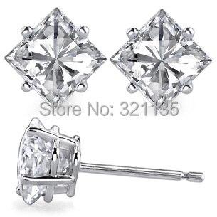 все цены на LASAMERO Princess Cut Basket Prongs Stud Earrings 14K White Gold 2.3ctw Lab Grown Moissanites Diamond Stud Earrings for Wedding