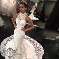 Fora Do Ombro Da Sereia Do Vestido de Casamento Com Alta Neck Mangas Branco Cheia Do Laço Do Vintage Trem Da Varredura Vestidos de Noiva 2017 Africano
