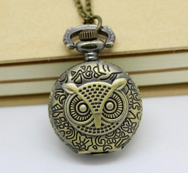 3002) 12 шт/лот стимпанк винтажные резные карманные часы с совой цепочкой ожерелье Кулон диаметр 2,7 см Хэллоуин Рождественские вечерние подарки - Цвет: bronze