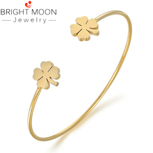 Bright Moon New Arrivals Gold Silver Cuff Bracelets Simple Double Four-leaf Clover Bangle Charm Bracelet for Women