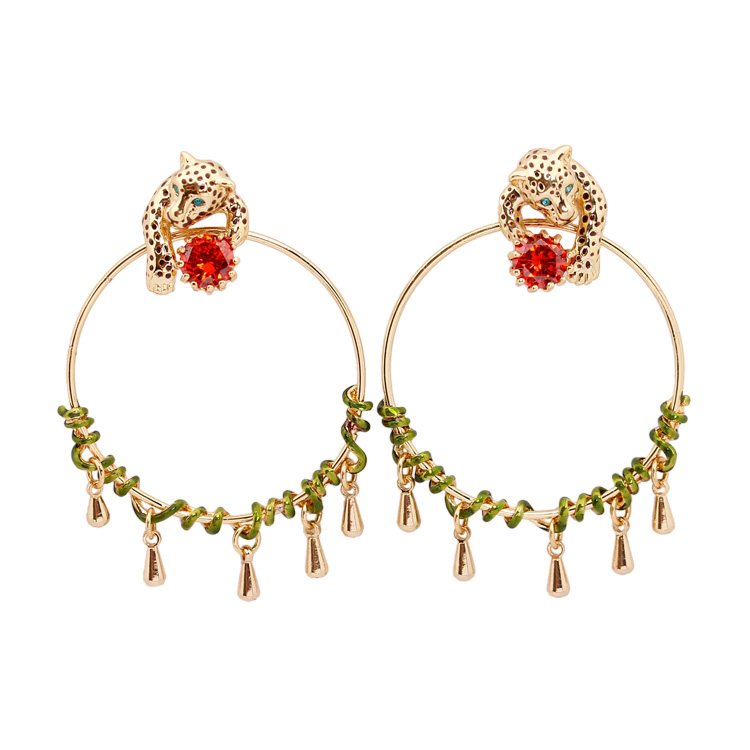 Tropic Jungles Series Leopard Red Cristal Sexy Engagement Earrings For Women brincos 2018 Fashion Animale Jewellery