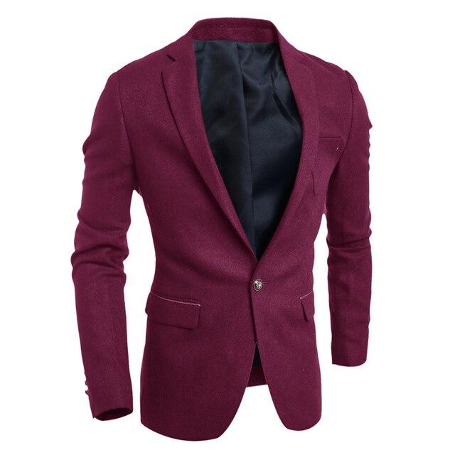 2016 Moda Mens Jaqueta Blazer Roupas de Estilo Coreano Slim Fit terno Do Casamento Homem Vestido Completo Manga Lazer Casacos Navy Vermelho 5195
