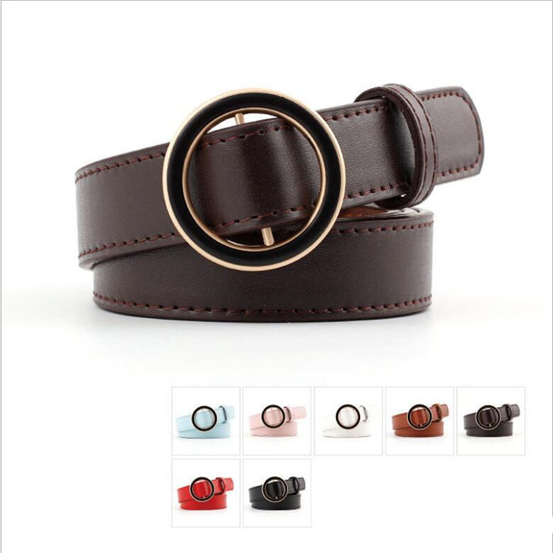 Women Metal Studs Inlaid Black Faux Leather Pin Buckle Waist Belt