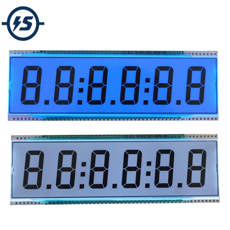 Reflection ED139 6 Digit 7 Segment LCD Display Screen Static Driving TN Positive Display 5V 137.16 X 46.38 X 2.8mm