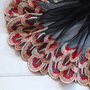 1Yard Peacock Feather Embroidered Lace Trim  Embroidery Mesh Lace Tulle Fabrics Curtain Dress Sewing Clothing Accessories DIY embroidery