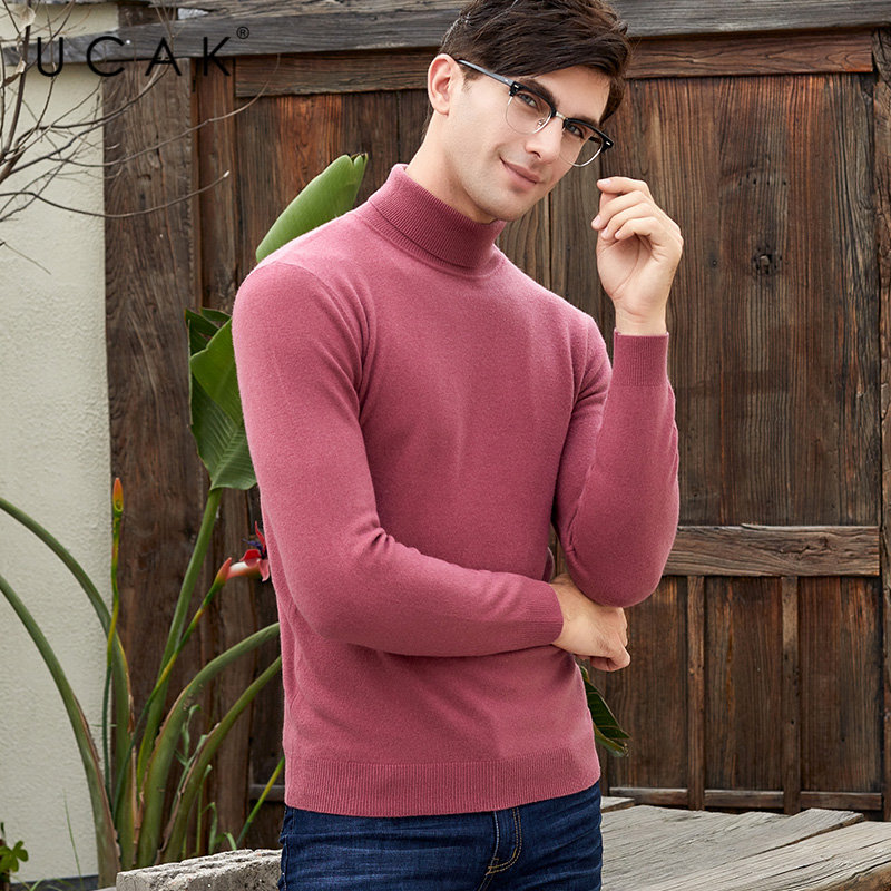 UCAK Brand Sweater Men Pure Merino Wool Pullover Men Autumn Winter Soft Cashmere Sweaters Thick Warm Turtleneck Pull Homme U3011