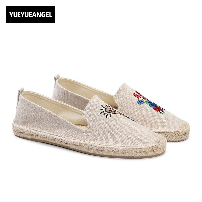 New Fashion Women Round Toe Slip On Shoes Autumn Femme Casual Canvas Shoes Cute Girl Party Loafers Driving Free Shipping Beige dijigirls new women casual flat shoes fashion slip on round toe loafers lace cut outs straw hemp rope canvas shoes size 35 40