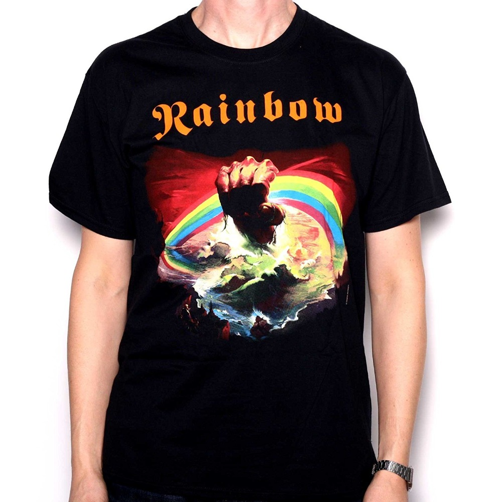 Rainbow T Shirt Rainbow Rising 100% Official Full Colour Screenprinted Merchandise Fashion Men T Shirt Free Shipping
