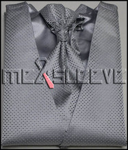 hot sale dress/Bridal Tuxedos man's silver small dot waistcoat 4pcs(vest+ascot tie+cufflinks+handkerchief)